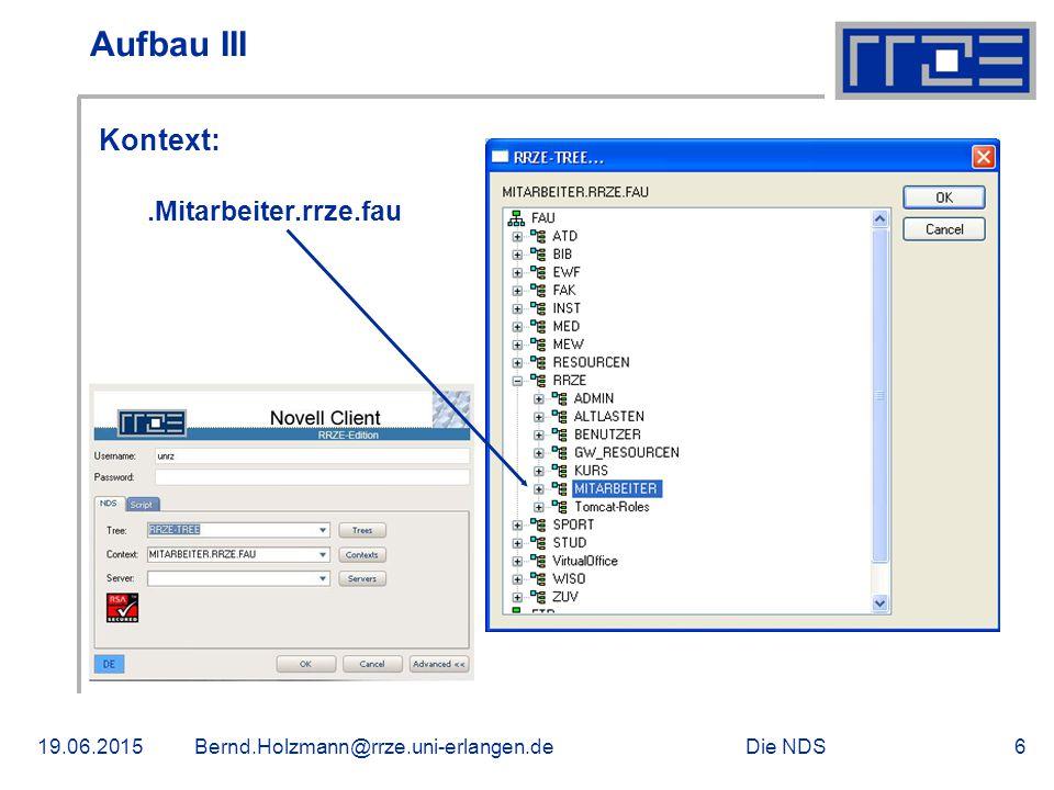 Die NDS19.06.2015Bernd.Holzmann@rrze.uni-erlangen.de6 Aufbau III Kontext:.Mitarbeiter.rrze.fau
