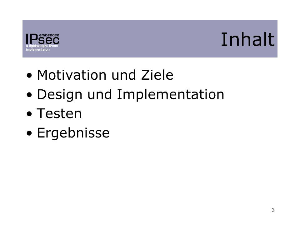2 Motivation und Ziele Design und Implementation Testen Ergebnisse Inhalt