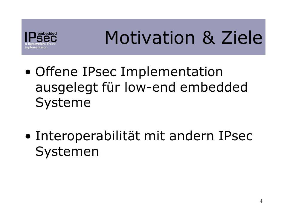4 Offene IPsec Implementation ausgelegt für low-end embedded Systeme Interoperabilität mit andern IPsec Systemen Motivation & Ziele