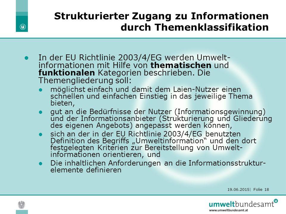 19.06.2015| Folie 18 Strukturierter Zugang zu Informationen durch Themenklassifikation In der EU Richtlinie 2003/4/EG werden Umwelt- informationen mit Hilfe von thematischen und funktionalen Kategorien beschrieben.