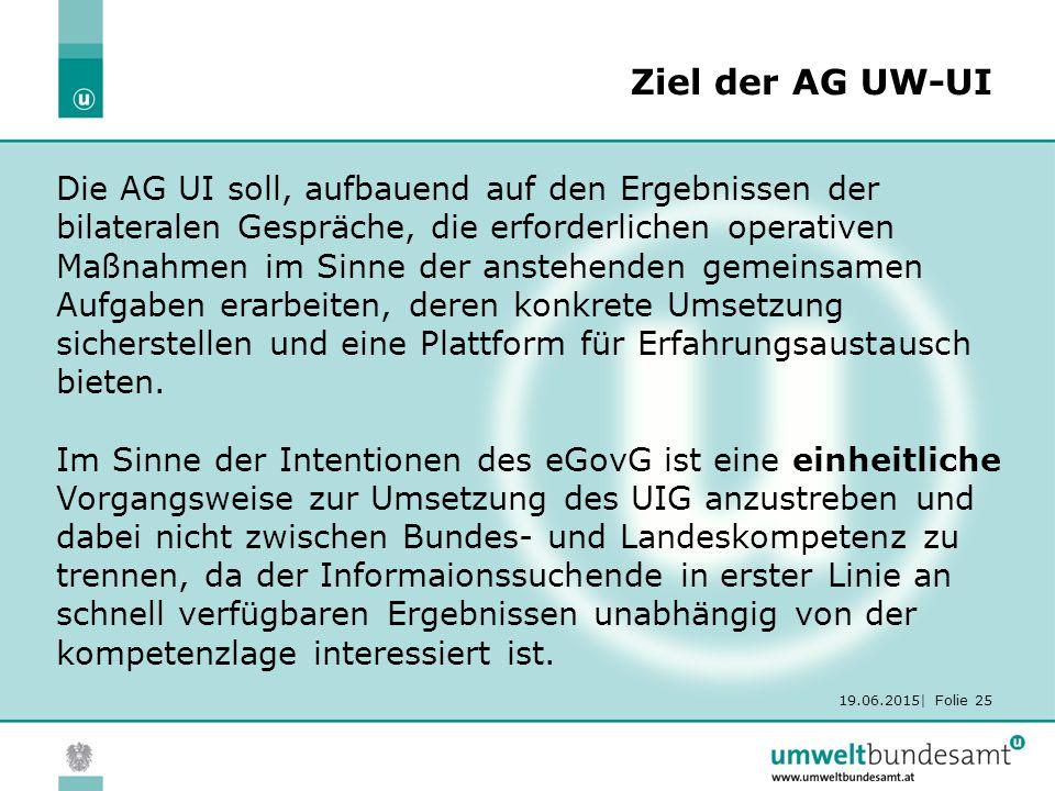 19.06.2015| Folie 25 Ziel der AG UW-UI Die AG UI soll, aufbauend auf den Ergebnissen der bilateralen Gespräche, die erforderlichen operativen Maßnahmen im Sinne der anstehenden gemeinsamen Aufgaben erarbeiten, deren konkrete Umsetzung sicherstellen und eine Plattform für Erfahrungsaustausch bieten.