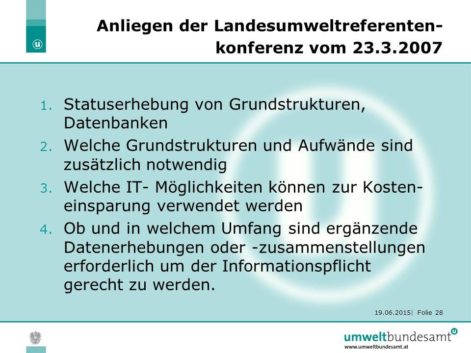 19.06.2015| Folie 28 Anliegen der Landesumweltreferenten- konferenz vom 23.3.2007 1.