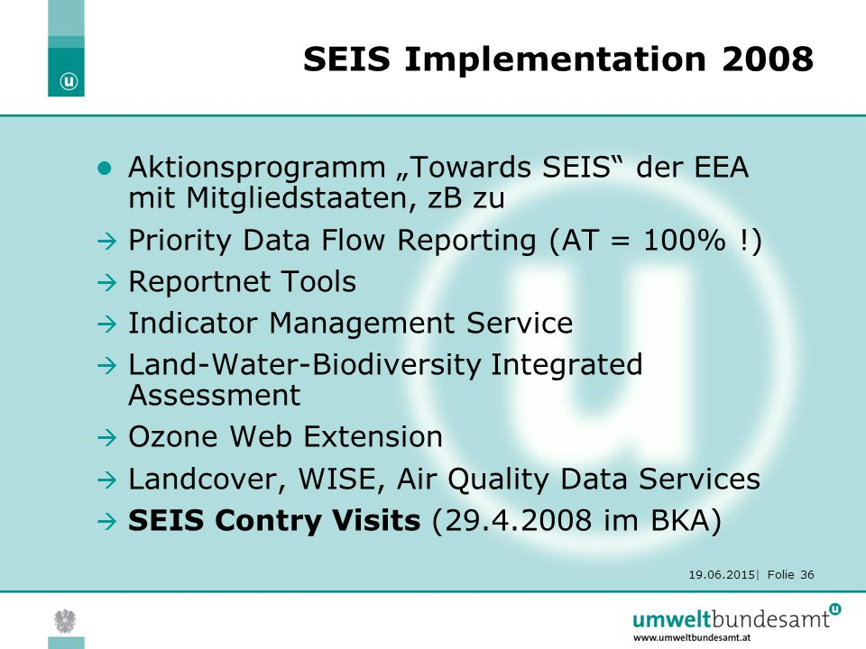 "19.06.2015| Folie 36 SEIS Implementation 2008 Aktionsprogramm ""Towards SEIS der EEA mit Mitgliedstaaten, zB zu  Priority Data Flow Reporting (AT = 100% !)  Reportnet Tools  Indicator Management Service  Land-Water-Biodiversity Integrated Assessment  Ozone Web Extension  Landcover, WISE, Air Quality Data Services  SEIS Contry Visits (29.4.2008 im BKA)"