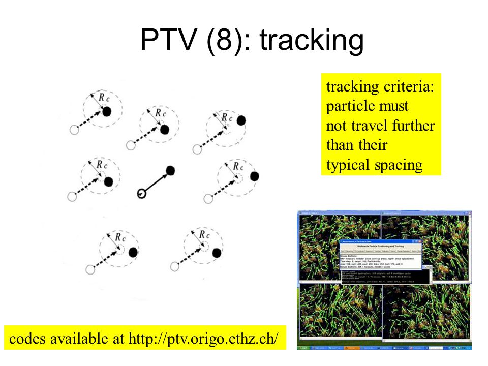 PTV (8): tracking tracking criteria: particle must not travel further than their typical spacing codes available at http://ptv.origo.ethz.ch/