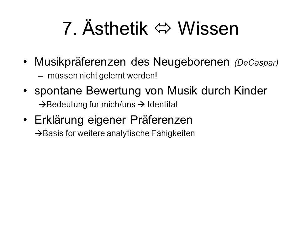 7. Ästhetik  Wissen Musikpräferenzen des Neugeborenen (DeCaspar) –müssen nicht gelernt werden! spontane Bewertung von Musik durch Kinder  Bedeutung