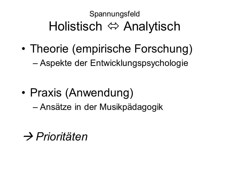 Spannungsfeld Holistisch  Analytisch Theorie (empirische Forschung) –Aspekte der Entwicklungspsychologie Praxis (Anwendung) –Ansätze in der Musikpäda