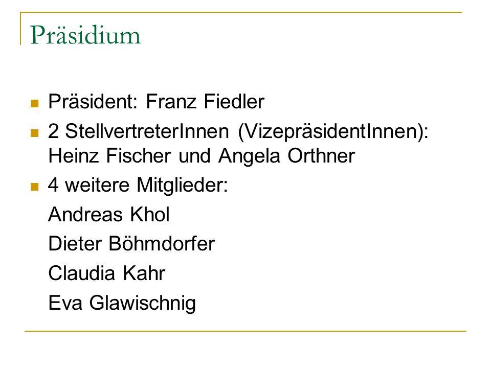 Präsidium Präsident: Franz Fiedler 2 StellvertreterInnen (VizepräsidentInnen): Heinz Fischer und Angela Orthner 4 weitere Mitglieder: Andreas Khol Die