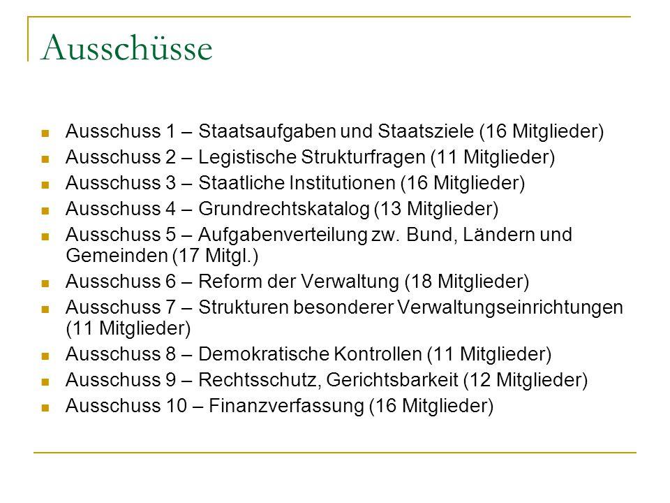 Ausschüsse Ausschuss 1 – Staatsaufgaben und Staatsziele (16 Mitglieder) Ausschuss 2 – Legistische Strukturfragen (11 Mitglieder) Ausschuss 3 – Staatli