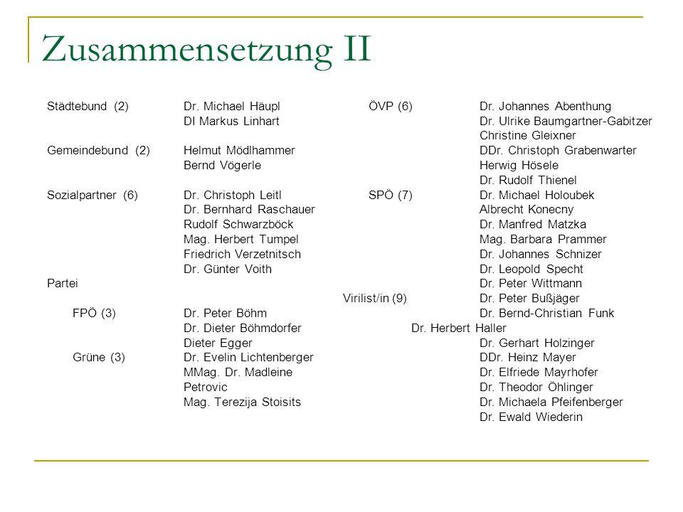 Zusammensetzung II Städtebund (2)Dr. Michael Häupl DI Markus Linhart Gemeindebund (2)Helmut Mödlhammer Bernd Vögerle Sozialpartner (6)Dr. Christoph Le