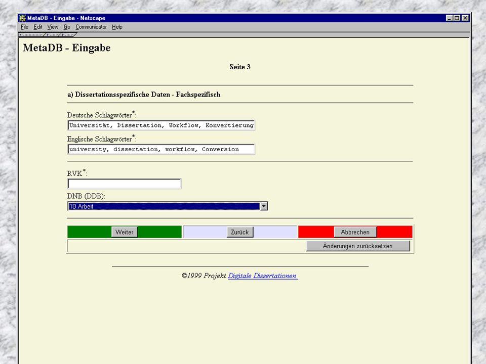 6/19/2015 Erzeugen des Metadatensatzes n Angaben von Autoren – Titel – Keywords / Abstracts – Name etc. n Eingabe in Aleph-System; OPAC n Übernahme in