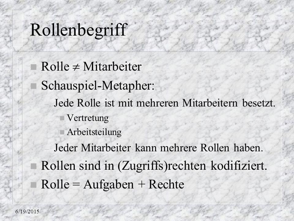 6/19/2015 Rollenbegriff n Rolle  Mitarbeiter n Schauspiel-Metapher: – Jede Rolle ist mit mehreren Mitarbeitern besetzt. n Vertretung n Arbeitsteilung