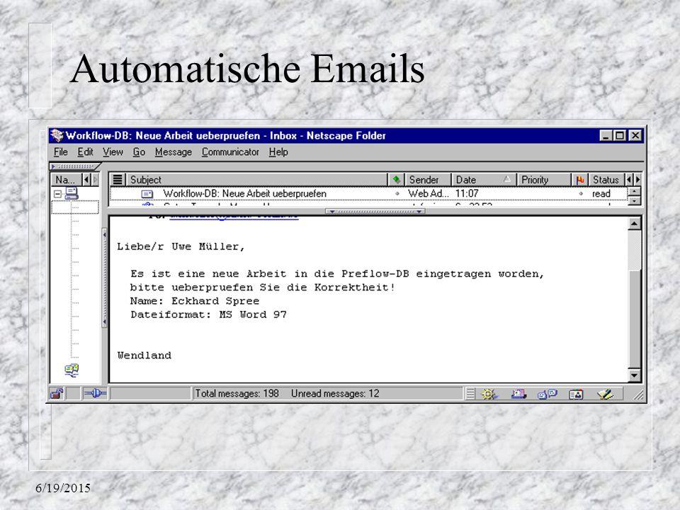 6/19/2015 Automatische Emails