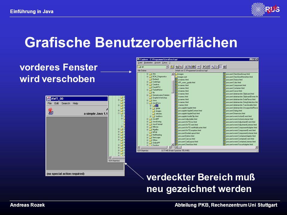 Einführung in Java Andreas RozekAbteilung PKB, Rechenzentrum Uni Stuttgart Grafische Benutzeroberflächen verdeckter Bereich muß neu gezeichnet werden vorderes Fenster wird verschoben