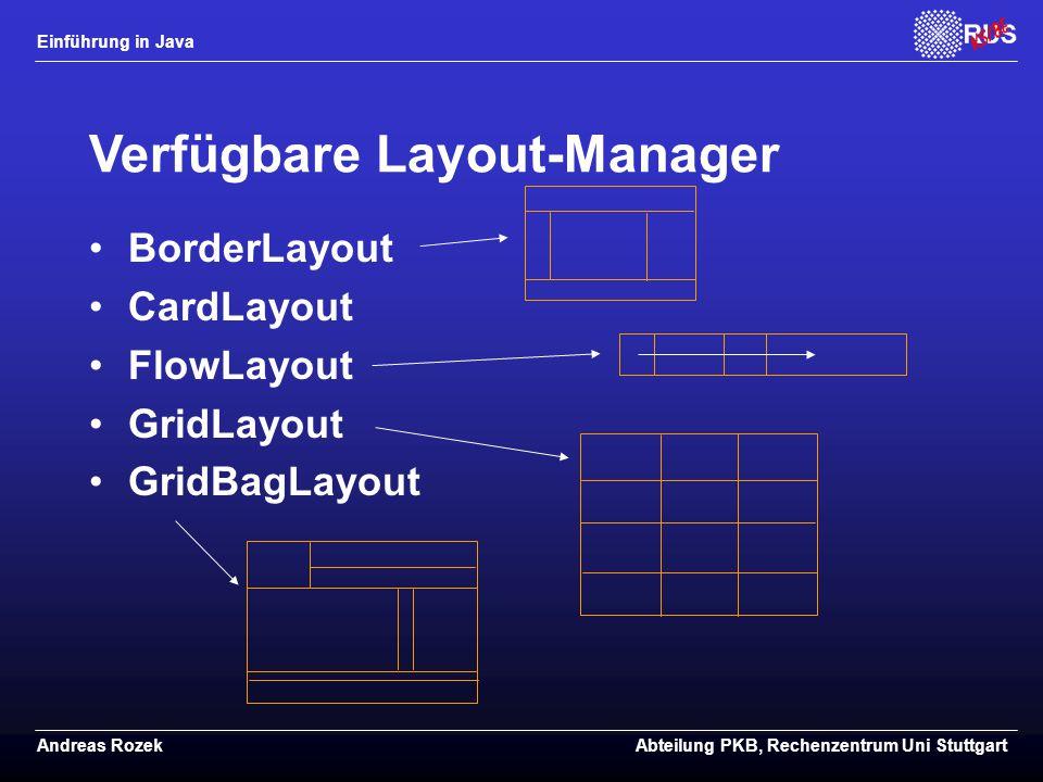 Einführung in Java Andreas RozekAbteilung PKB, Rechenzentrum Uni Stuttgart Verfügbare Layout-Manager BorderLayout CardLayout FlowLayout GridLayout GridBagLayout