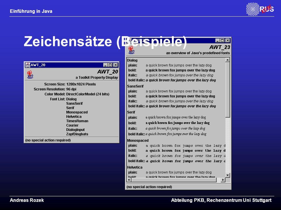 Einführung in Java Andreas RozekAbteilung PKB, Rechenzentrum Uni Stuttgart Zeichensätze (Beispiele)