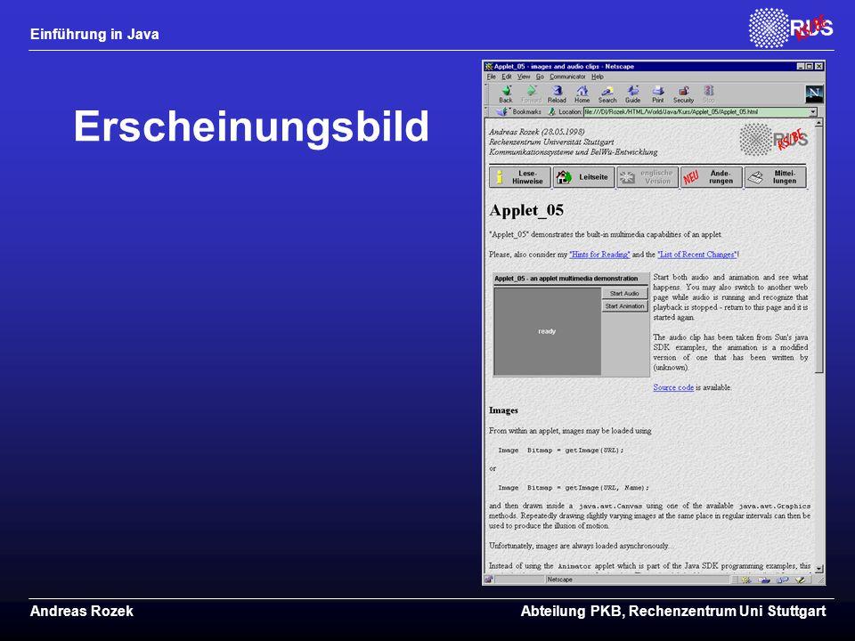 Einführung in Java Andreas RozekAbteilung PKB, Rechenzentrum Uni Stuttgart Erscheinungsbild