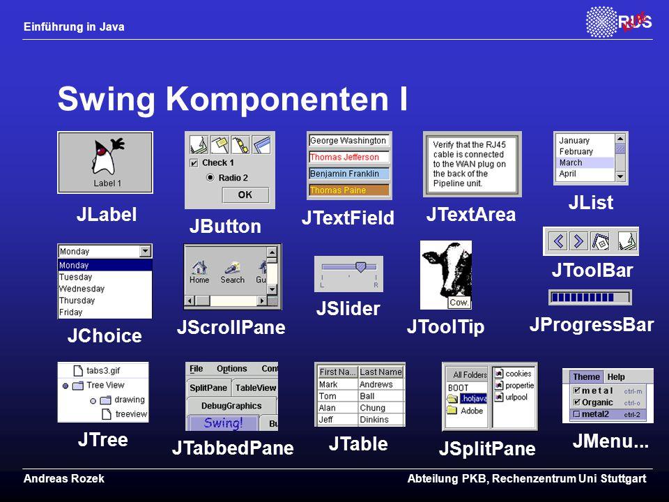 Einführung in Java Andreas RozekAbteilung PKB, Rechenzentrum Uni Stuttgart Swing Komponenten I JProgressBar JLabel JButton JTextField JTextArea JList JChoice JScrollPane JSlider JMenu...