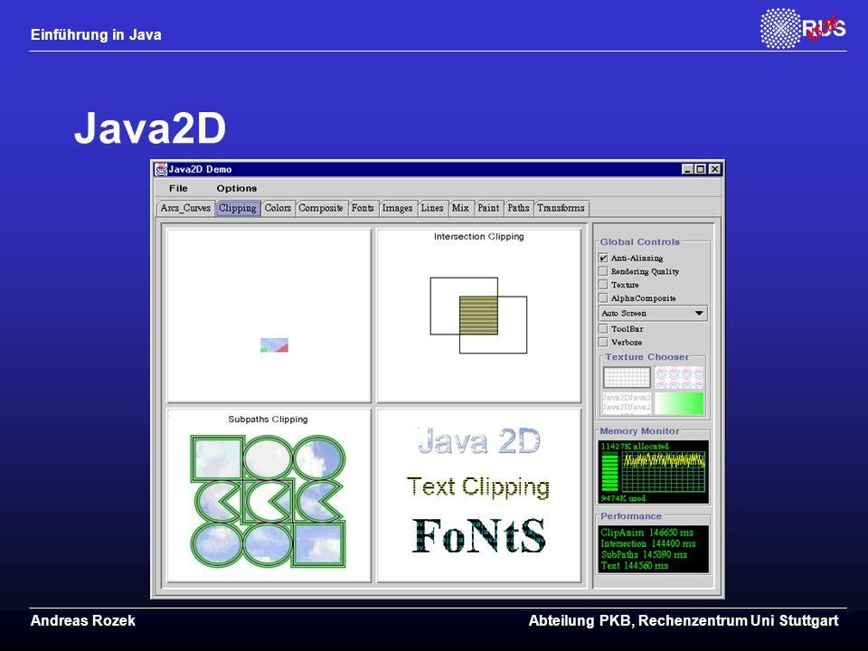 Einführung in Java Andreas RozekAbteilung PKB, Rechenzentrum Uni Stuttgart Java2D