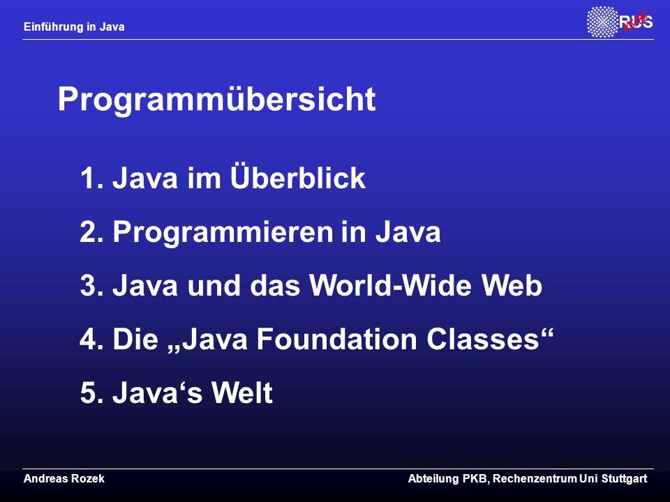 Einführung in Java Andreas RozekAbteilung PKB, Rechenzentrum Uni Stuttgart Programmübersicht 1.