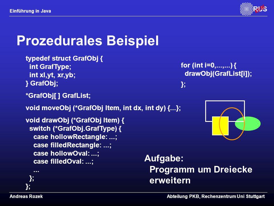 Einführung in Java Andreas RozekAbteilung PKB, Rechenzentrum Uni Stuttgart Prozedurales Beispiel typedef struct GrafObj { int GrafType; int xl,yt, xr,yb; } GrafObj; *GrafObj[ ] GrafList; void moveObj (*GrafObj Item, int dx, int dy) {...}; void drawObj (*GrafObj Item) { switch (*GrafObj.GrafType) { case hollowRectangle:...; case filledRectangle:...; case hollowOval:...; case filledOval:...;...