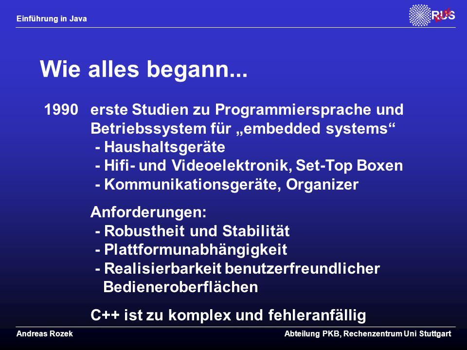 Einführung in Java Andreas RozekAbteilung PKB, Rechenzentrum Uni Stuttgart Wie alles begann...