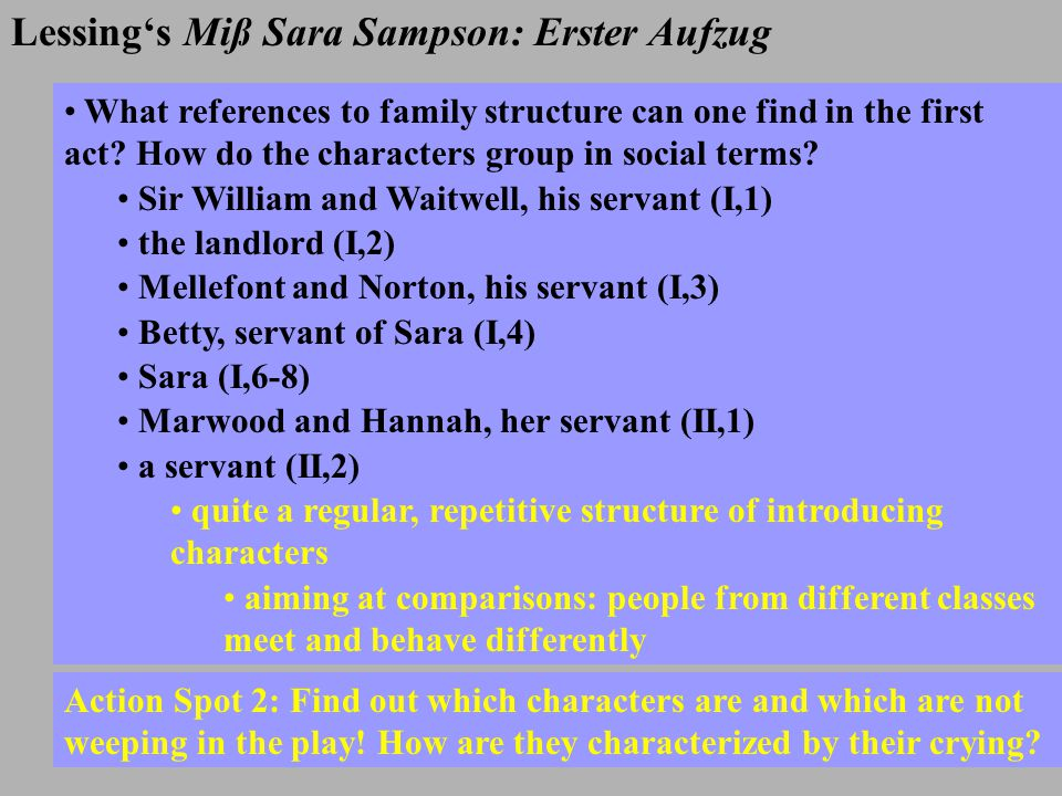 Lessing's Miß Sara Sampson: Erster Aufzug What references to family structure can one find in the first act? How do the characters group in social ter