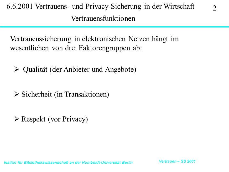 Institut für Bibliothekswissenschaft an der Humboldt-Universität Berlin 33 Vertrauen – SS 2001 6.6.2001 Vertrauens- und Privacy-Sicherung in der Wirtschaft Ecommerce Trust Study Cheskin Research 11/99: http://www.studioarchetype.com/cheskin/assets/images/etrust.pdfTrust Study 8.
