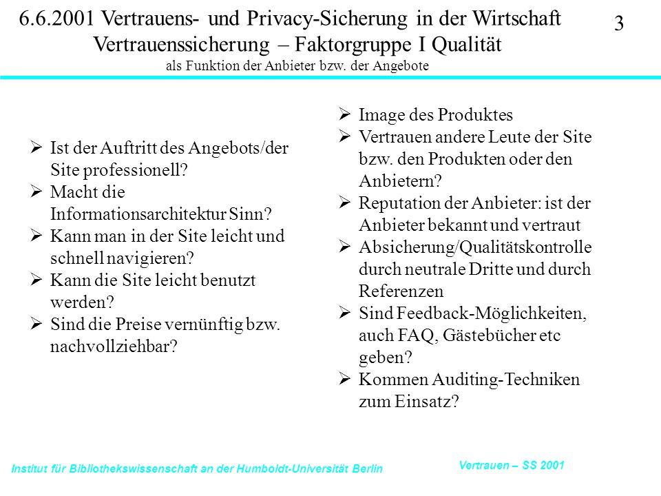 Institut für Bibliothekswissenschaft an der Humboldt-Universität Berlin 3 Vertrauen – SS 2001 6.6.2001 Vertrauens- und Privacy-Sicherung in der Wirtschaft Vertrauenssicherung – Faktorgruppe I Qualität als Funktion der Anbieter bzw.