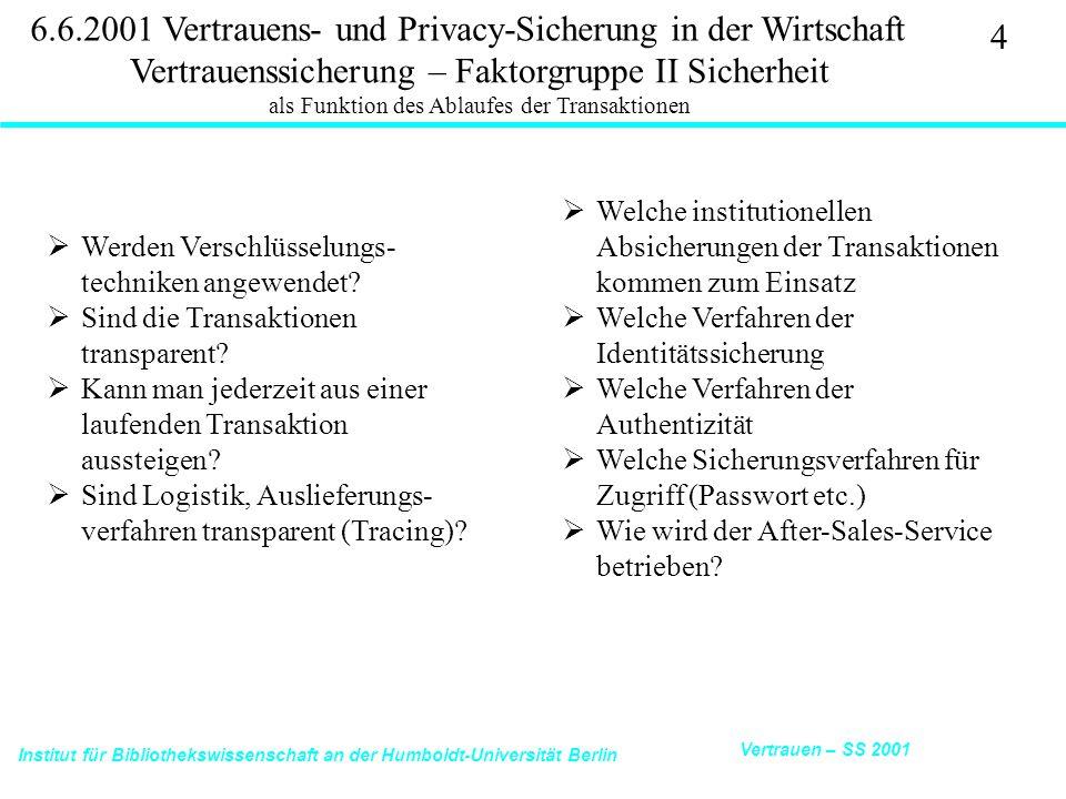 Institut für Bibliothekswissenschaft an der Humboldt-Universität Berlin 4 Vertrauen – SS 2001 6.6.2001 Vertrauens- und Privacy-Sicherung in der Wirtschaft Vertrauenssicherung – Faktorgruppe II Sicherheit als Funktion des Ablaufes der Transaktionen  Werden Verschlüsselungs- techniken angewendet.