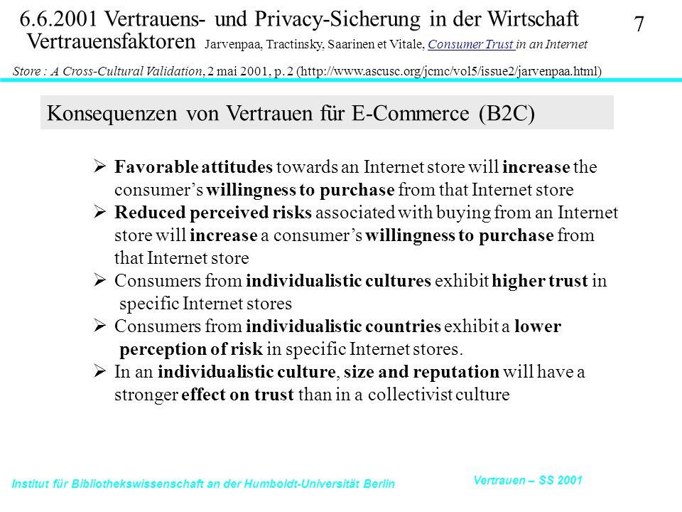 Institut für Bibliothekswissenschaft an der Humboldt-Universität Berlin 28 Vertrauen – SS 2001 6.6.2001 Vertrauens- und Privacy-Sicherung in der Wirtschaft Ecommerce Trust Study Cheskin Research 11/99: http://www.studioarchetype.com/cheskin/assets/images/etrust.pdfTrust Study 5.