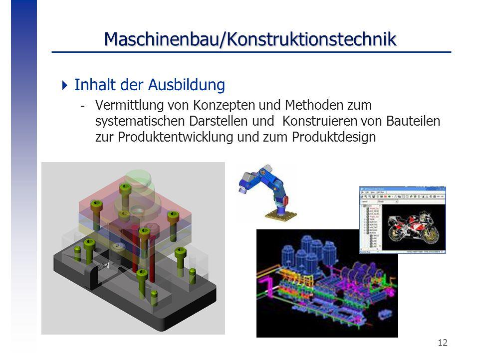 12 Maschinenbau/Konstruktionstechnik  Inhalt der Ausbildung -Vermittlung von Konzepten und Methoden zum systematischen Darstellen und Konstruieren vo