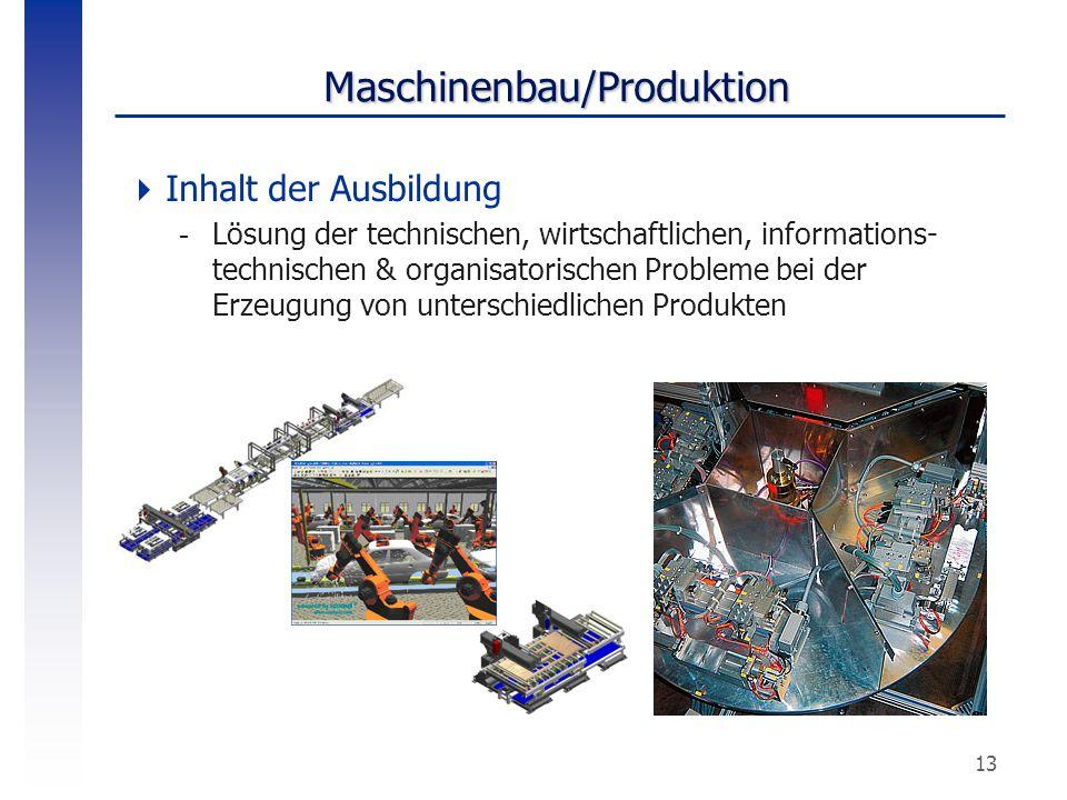 13 Maschinenbau/Produktion  Inhalt der Ausbildung -Lösung der technischen, wirtschaftlichen, informations- technischen & organisatorischen Probleme b