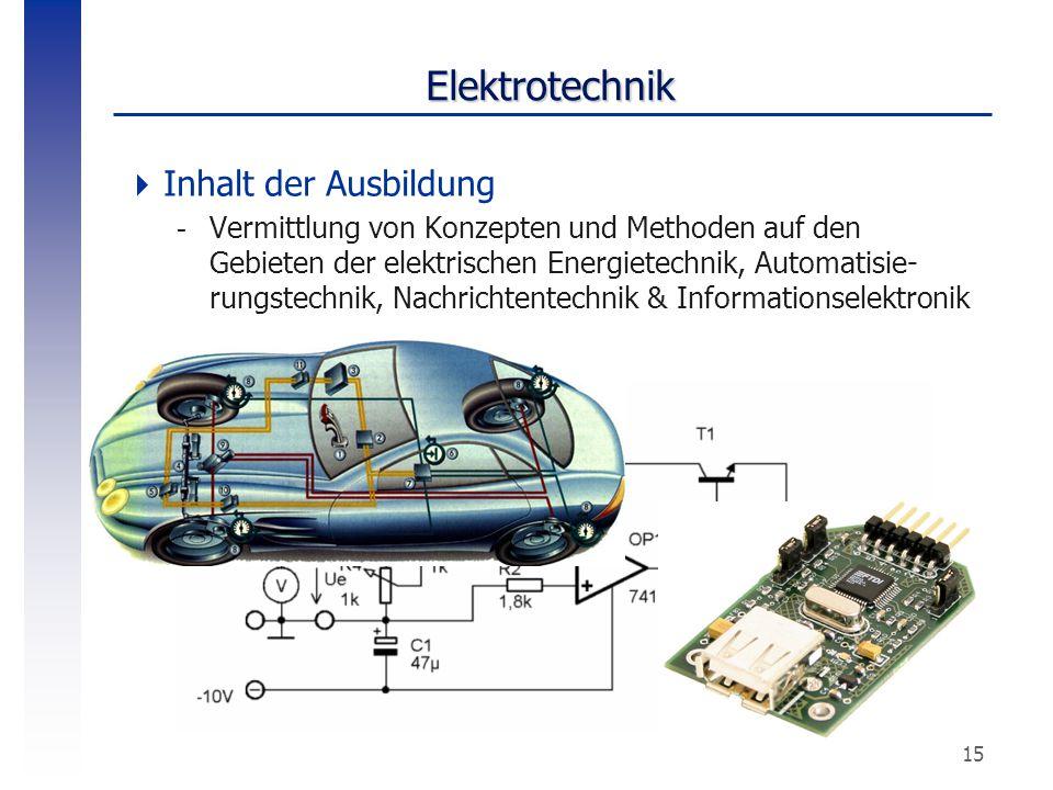 15 Elektrotechnik  Inhalt der Ausbildung -Vermittlung von Konzepten und Methoden auf den Gebieten der elektrischen Energietechnik, Automatisie- rungs