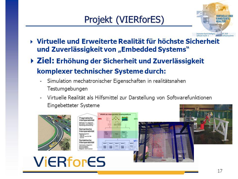 """17 Projekt (VIERforES)  Virtuelle und Erweiterte Realität für höchste Sicherheit und Zuverlässigkeit von """"Embedded Systems""""  Ziel: Erhöhung der Sich"""