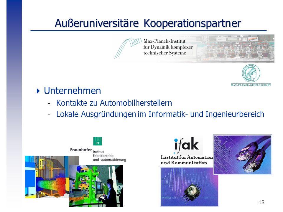 18 Außeruniversitäre Kooperationspartner  Unternehmen -Kontakte zu Automobilherstellern -Lokale Ausgründungen im Informatik- und Ingenieurbereich Ins