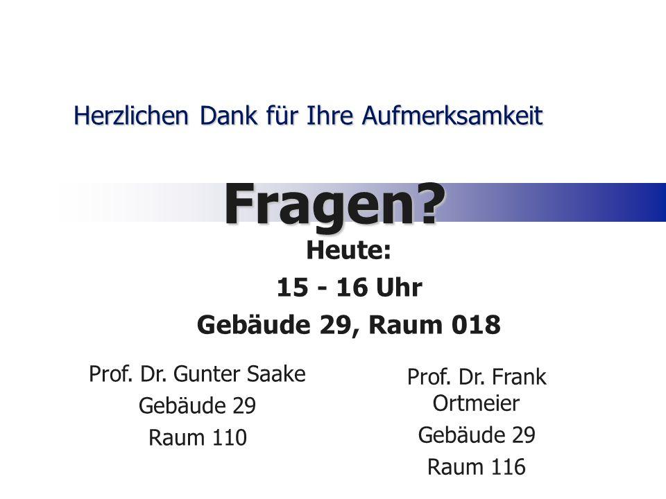 Herzlichen Dank für Ihre Aufmerksamkeit Fragen? Prof. Dr. Gunter Saake Gebäude 29 Raum 110 Prof. Dr. Frank Ortmeier Gebäude 29 Raum 116 Heute: 15 - 16