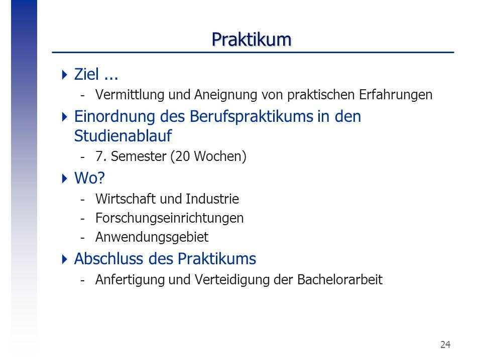 24 Praktikum  Ziel... -Vermittlung und Aneignung von praktischen Erfahrungen  Einordnung des Berufspraktikums in den Studienablauf -7. Semester (20