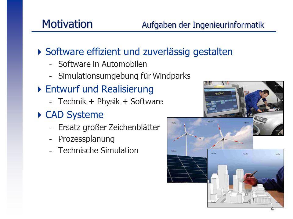 4  Software effizient und zuverlässig gestalten -Software in Automobilen -Simulationsumgebung für Windparks  Entwurf und Realisierung -Technik + Phy