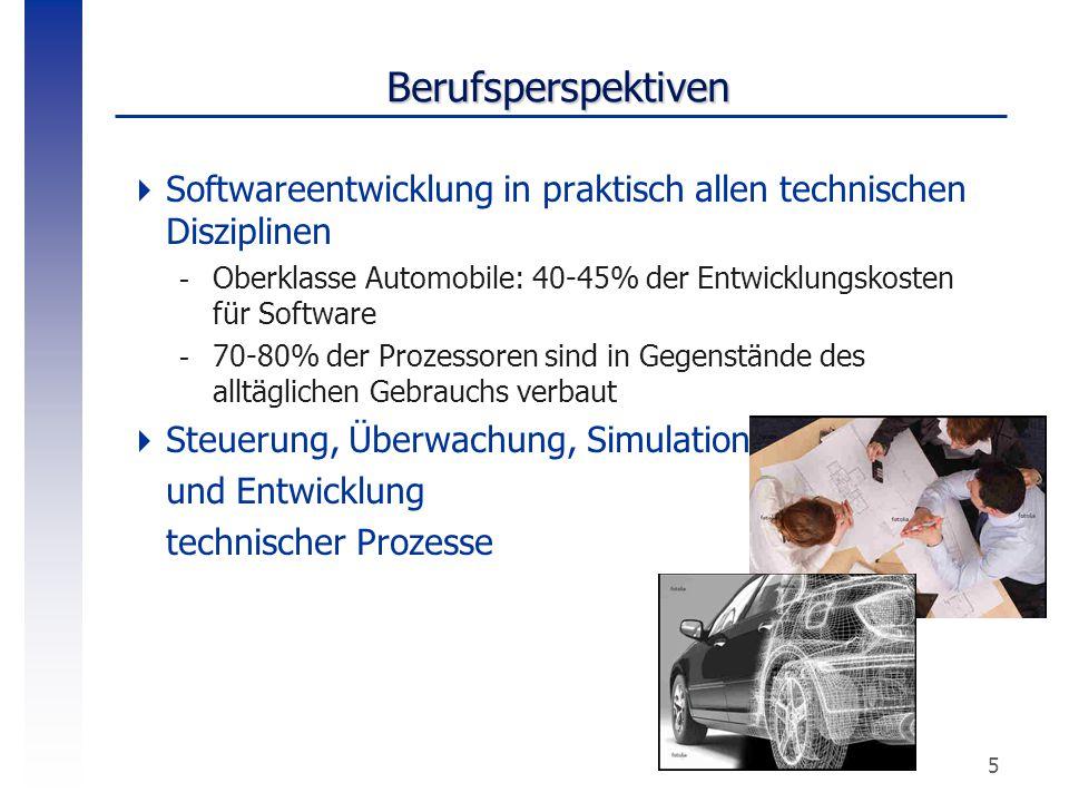 5 Berufsperspektiven  Softwareentwicklung in praktisch allen technischen Disziplinen -Oberklasse Automobile: 40-45% der Entwicklungskosten für Softwa
