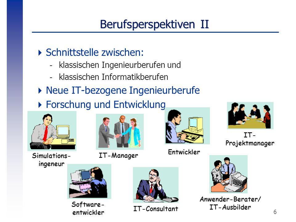 6 Berufsperspektiven II  Schnittstelle zwischen: -klassischen Ingenieurberufen und -klassischen Informatikberufen  Neue IT-bezogene Ingenieurberufe