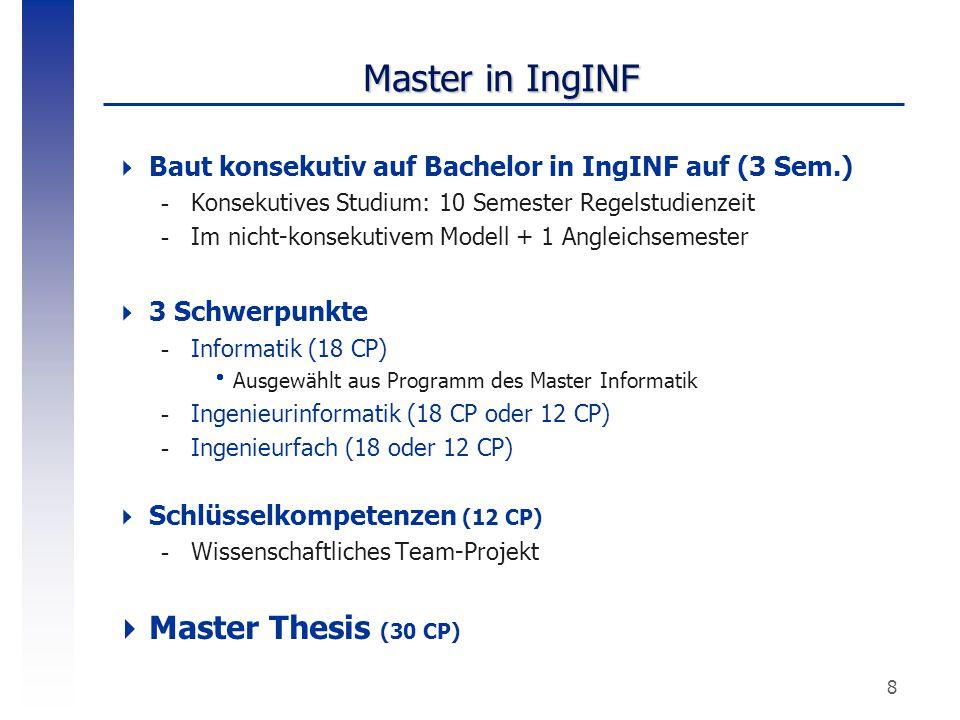 8 Master in IngINF  Baut konsekutiv auf Bachelor in IngINF auf (3 Sem.) -Konsekutives Studium: 10 Semester Regelstudienzeit -Im nicht-konsekutivem Mo
