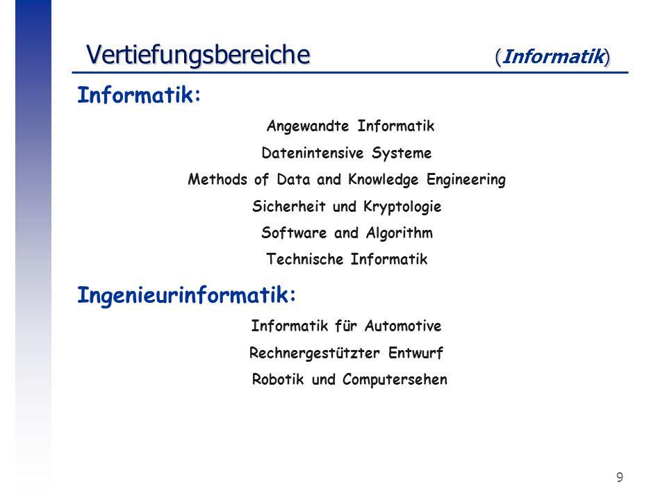9 Vertiefungsbereiche () Vertiefungsbereiche (Informatik) Informatik: Angewandte Informatik Datenintensive Systeme Methods of Data and Knowledge Engin