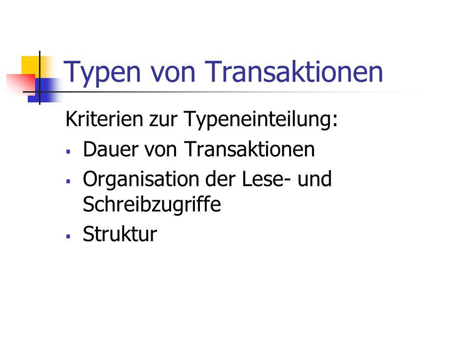 Typen von Transaktionen Kriterien zur Typeneinteilung:  Dauer von Transaktionen  Organisation der Lese- und Schreibzugriffe  Struktur