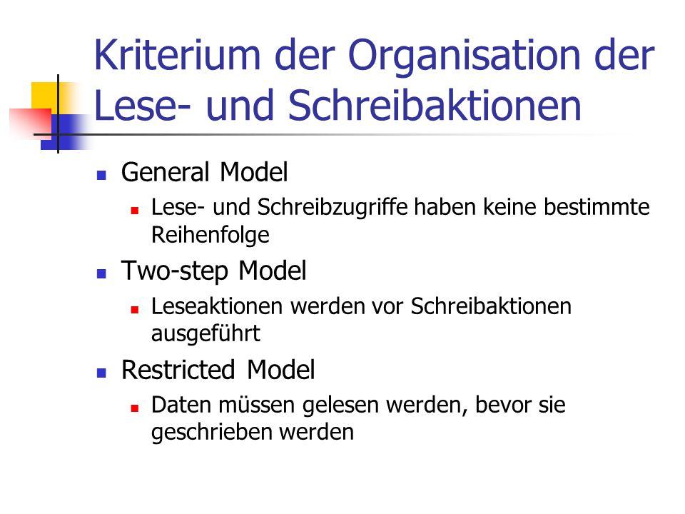 Kriterium der Organisation der Lese- und Schreibaktionen General Model Lese- und Schreibzugriffe haben keine bestimmte Reihenfolge Two-step Model Lese