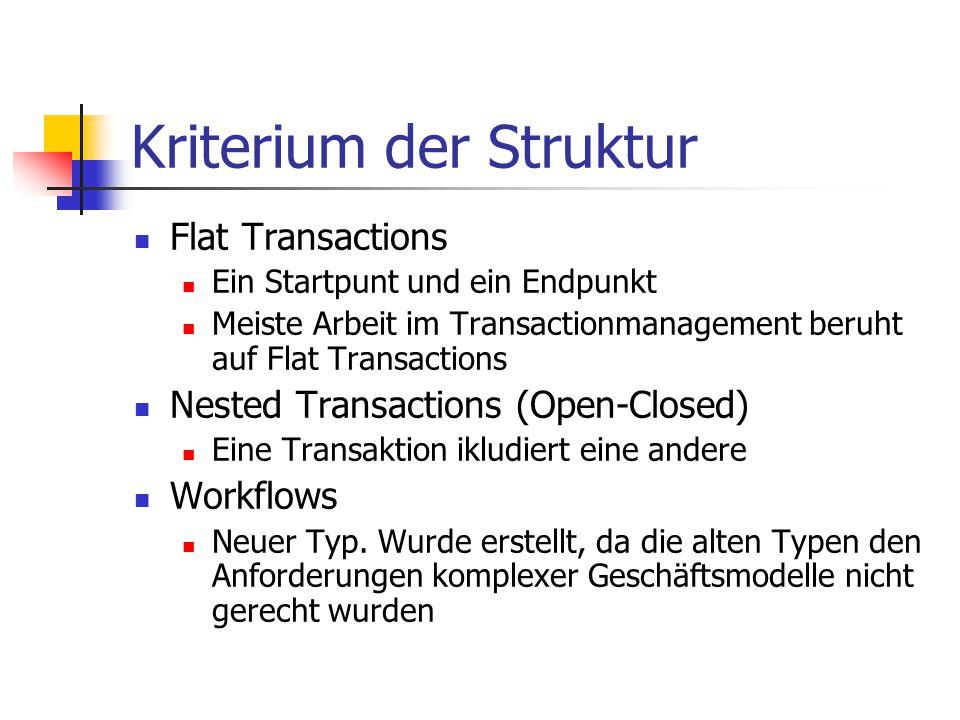 Kriterium der Struktur Flat Transactions Ein Startpunt und ein Endpunkt Meiste Arbeit im Transactionmanagement beruht auf Flat Transactions Nested Tra