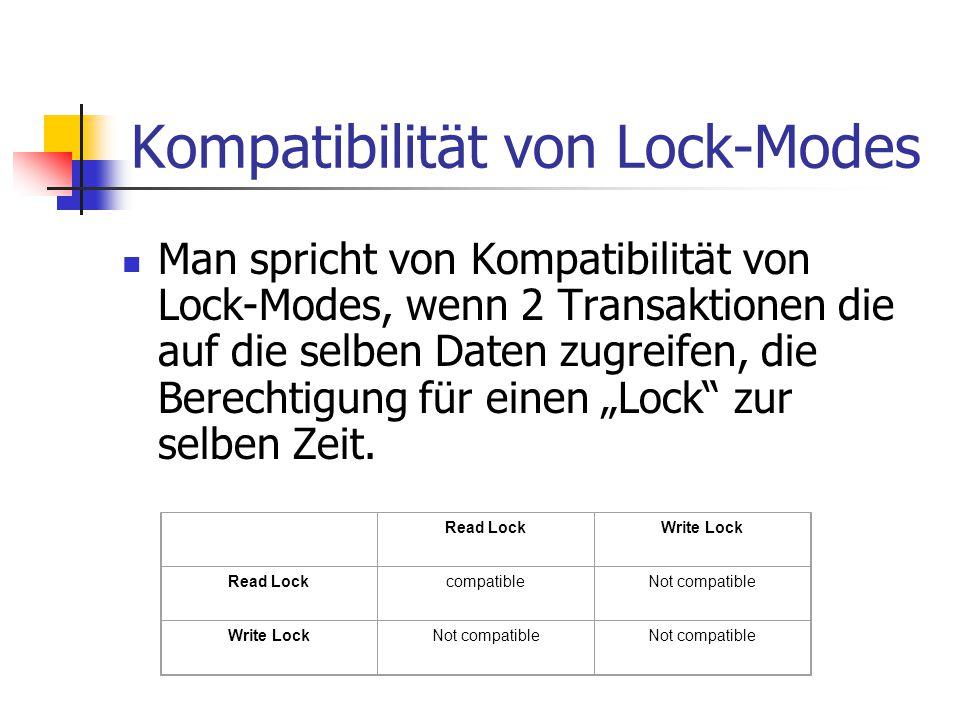 Kompatibilität von Lock-Modes Man spricht von Kompatibilität von Lock-Modes, wenn 2 Transaktionen die auf die selben Daten zugreifen, die Berechtigung