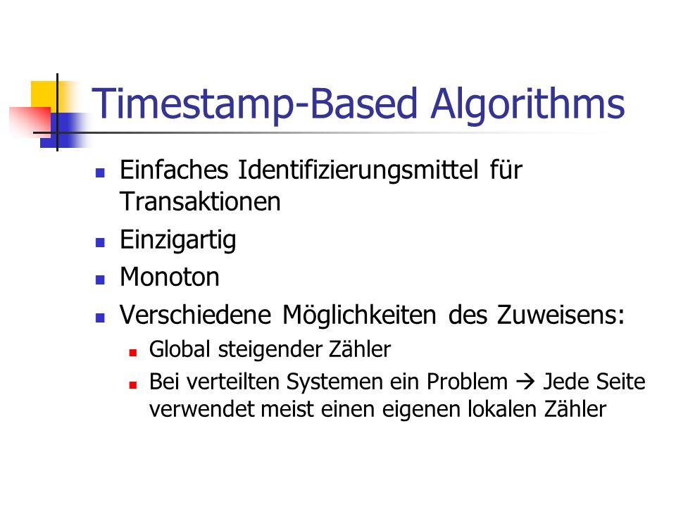 Timestamp-Based Algorithms Einfaches Identifizierungsmittel für Transaktionen Einzigartig Monoton Verschiedene Möglichkeiten des Zuweisens: Global ste