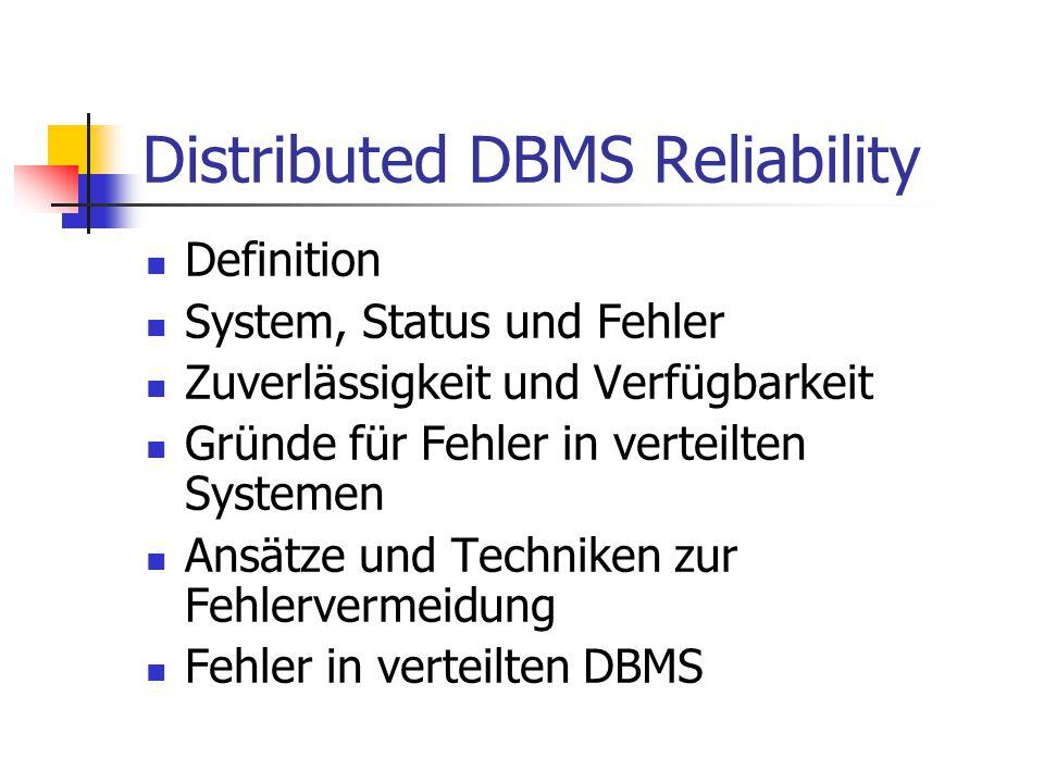 Distributed DBMS Reliability Definition System, Status und Fehler Zuverlässigkeit und Verfügbarkeit Gründe für Fehler in verteilten Systemen Ansätze u