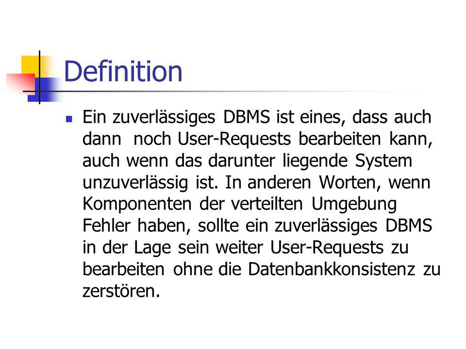 Definition Ein zuverlässiges DBMS ist eines, dass auch dann noch User-Requests bearbeiten kann, auch wenn das darunter liegende System unzuverlässig i