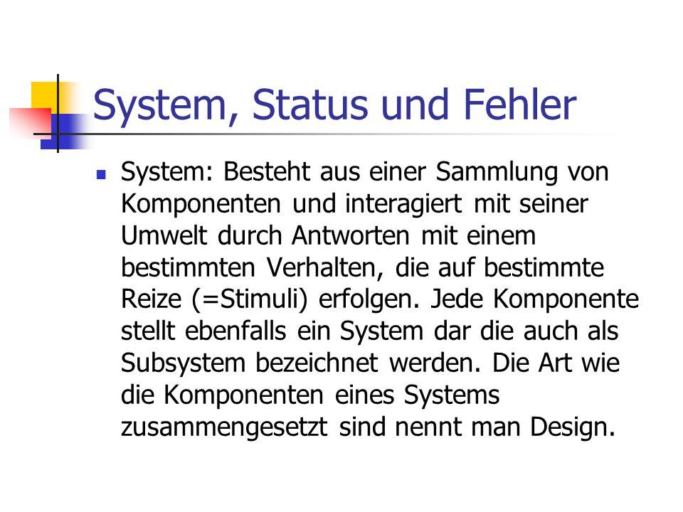 System, Status und Fehler System: Besteht aus einer Sammlung von Komponenten und interagiert mit seiner Umwelt durch Antworten mit einem bestimmten Ve